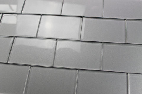 Elements Platinum 4x6 Glass Subway Tiles - Rocky Point Tile - Glass and Mosaic Tile Store