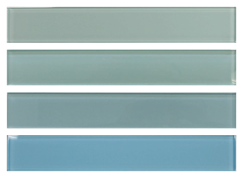 2x12 Glass Subway Tile Sample Combo Pack - Blues and Greens - Rocky Point Tile - Glass and Mosaic Tile Store