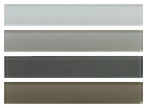 2x12 Glass Subway Tile Sample Combo Pack - White, Gray and Taupe Brown - Rocky Point Tile - Glass and Mosaic Tile Store