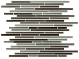 Santa Rosa Dark Brown Linear Glass Mosaic Tile - Rocky Point Tile - Glass and Mosaic Tile Store