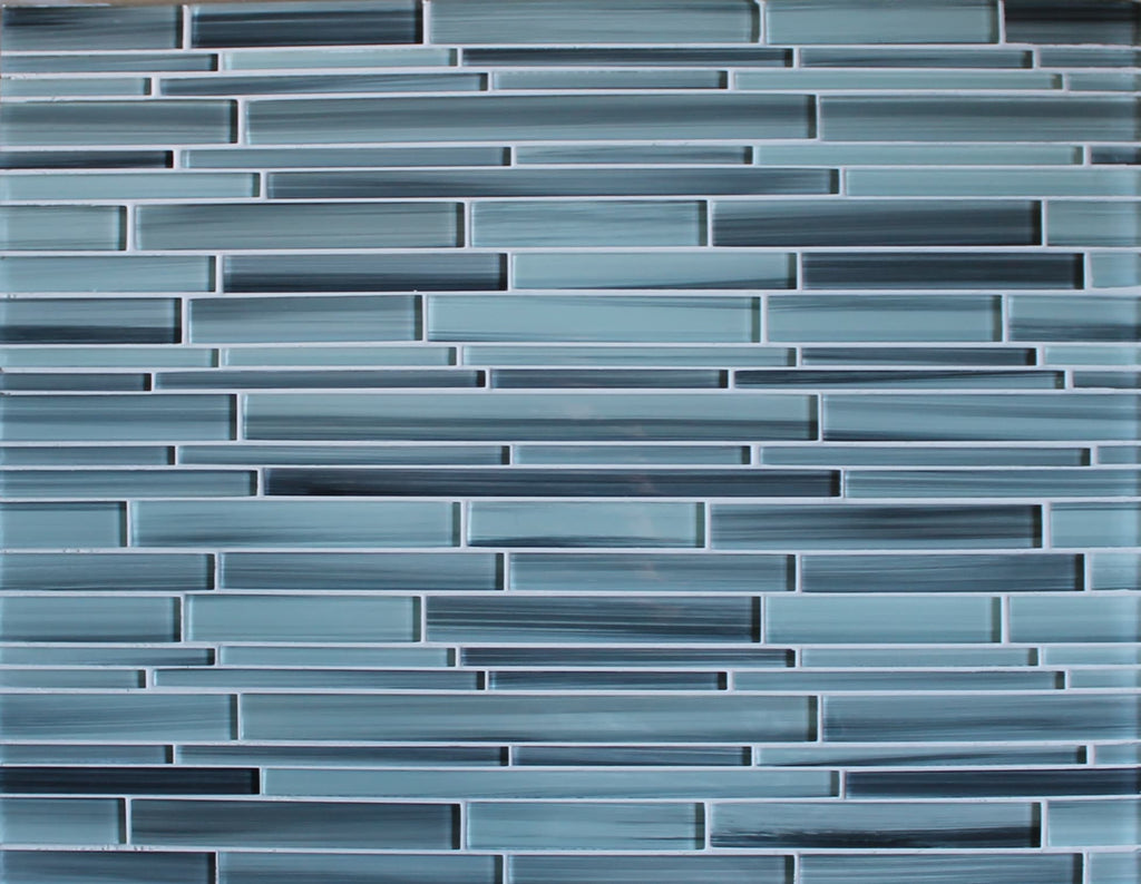 Surfz Up Hand Painted Linear Glass Mosaic Tiles Rocky