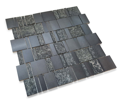 Stone and Aluminum Mosaic Tile - Ferro Black - Rocky Point Tile - Glass and Mosaic Tile Store