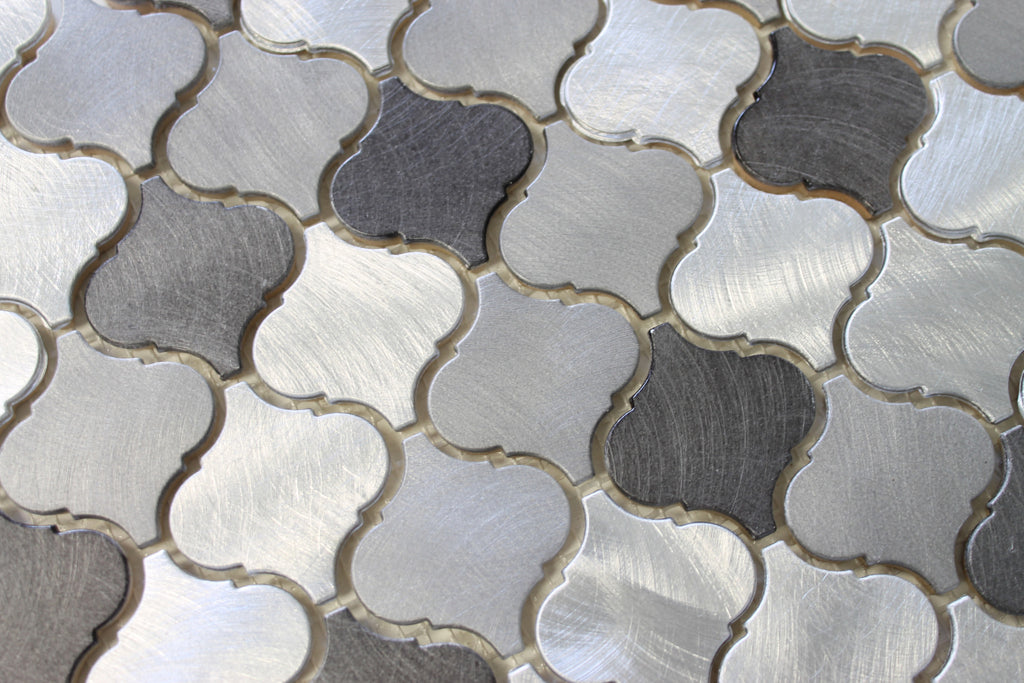 Uptown Brushed Aluminum Arabesque Mosaic Tiles Rocky