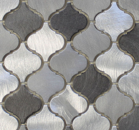 Uptown Brushed Aluminum Arabesque Mosaic Tiles - Rocky Point Tile - Glass and Mosaic Tile Store