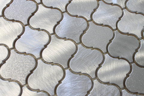 Cosmo Brushed Aluminum Arabesque Mosaic Tiles - Rocky Point Tile - Glass and Mosaic Tile Store