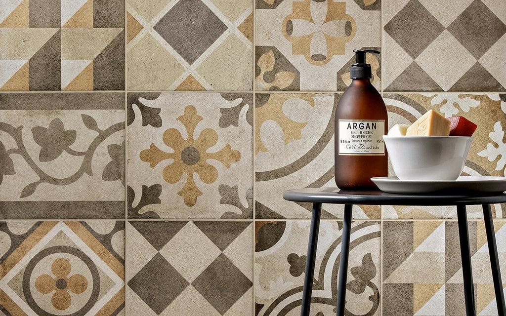 Ambra 1 Decor - Ottocento 8x8 Encaustic Look Tiles