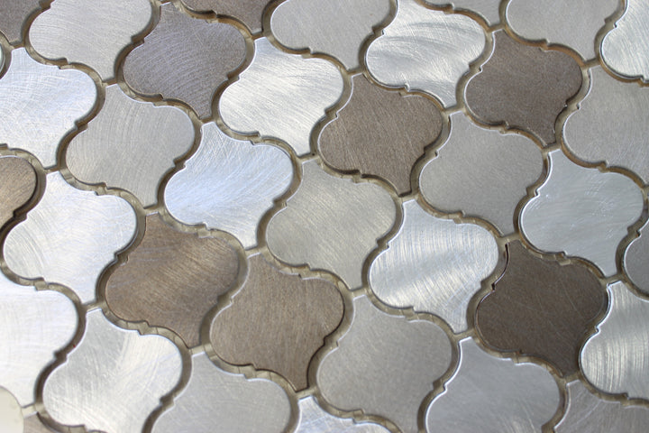 New Amsterdam Brushed Aluminum Arabesque Mosaic Tiles - Rocky Point Tile - Glass and Mosaic Tile Store
