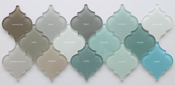 Seafoam Arabesque Glass Mosaic Tiles Rocky Point Tile Glass And Mosaic Tile Store