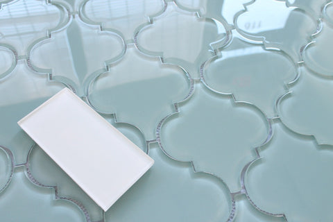 Jasper Blue Gray Arabesque Glass Mosaic Tiles - Rocky Point Tile - Glass and Mosaic Tile Store