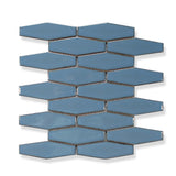 Atlanta Elongated 3D Hexagon Mosaic Tiles - Blue