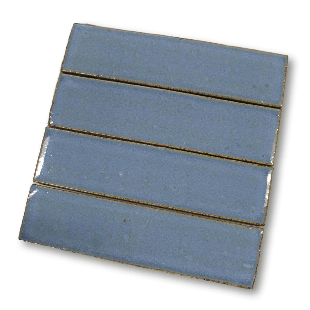 "Atlanta 9.5"" x 2.5"" Glazed Porcelain Subway Tiles - Blue"