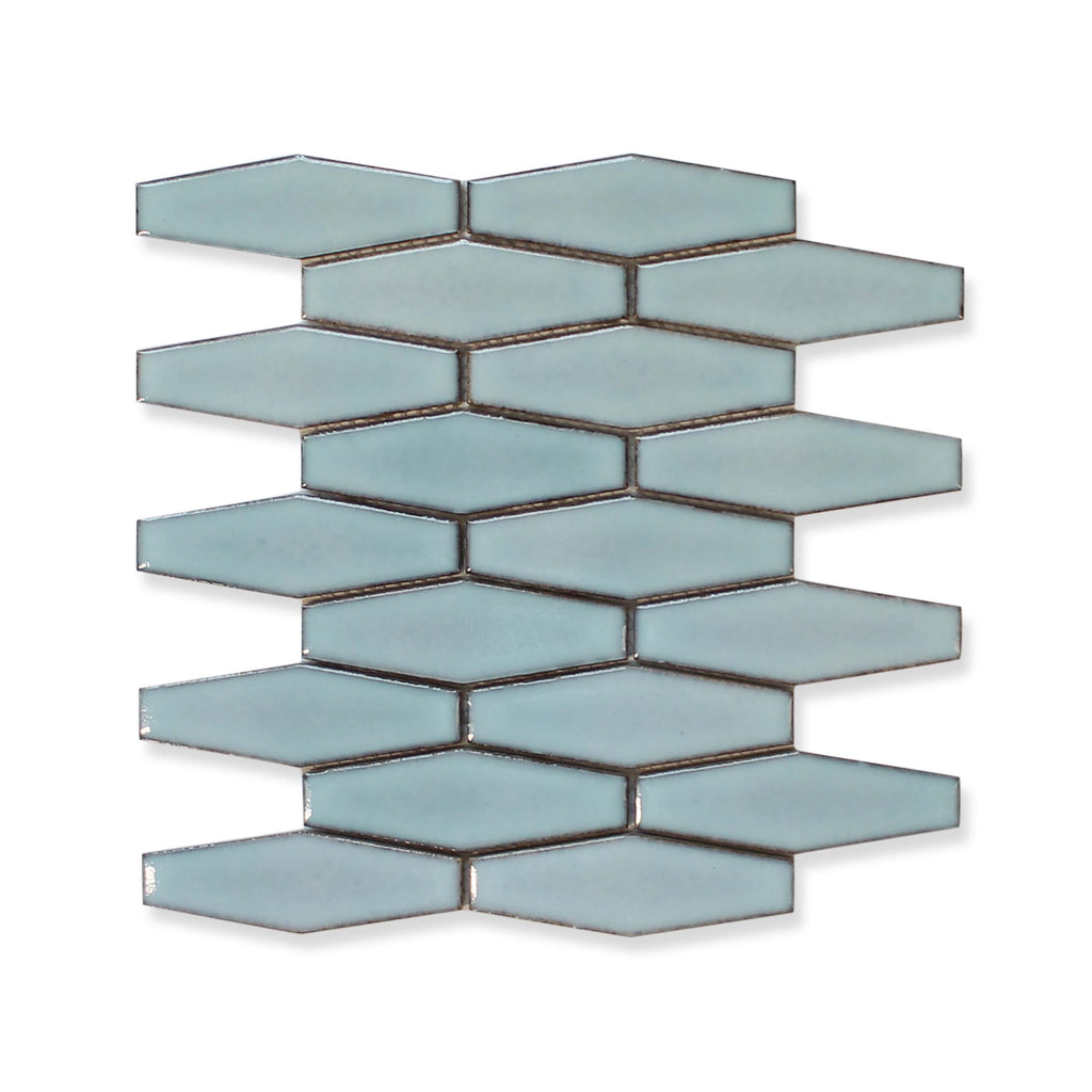 Atlanta Elongated 3D Hexagon Mosaic Tiles - Light Blue