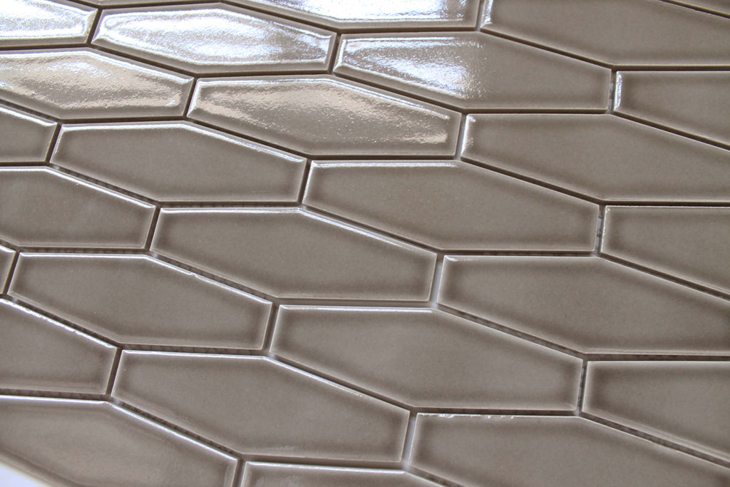Atlanta Elongated 3D Hexagon Mosaic Tiles - Light Gray