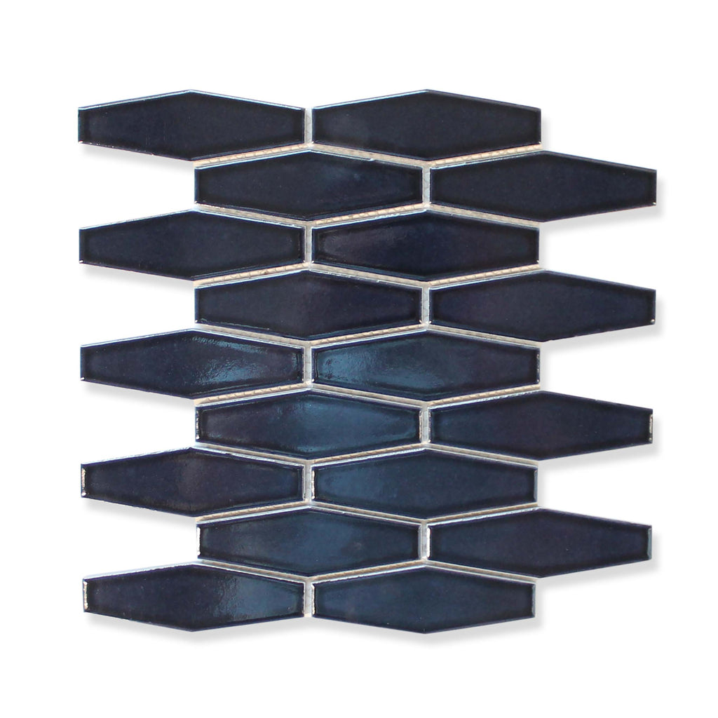 Atlanta Elongated 3D Hexagon Mosaic Tiles - Midnight Blue