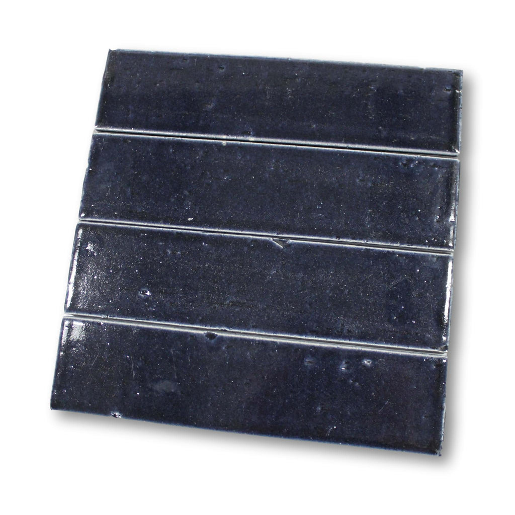 "Atlanta 9.5"" x 2.5"" Glazed Porcelain Subway Tiles - Midnight Blue"