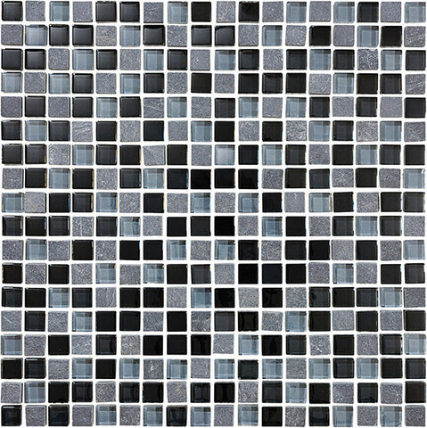 Bliss Black Timber Stone and Glass Square Mosaic Tiles - Rocky Point Tile - Glass and Mosaic Tile Store