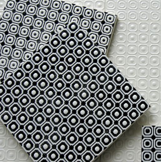 "Melody 8"" x 8"" Glazed Porcelain Patterned Tiles - Black and White Blend"
