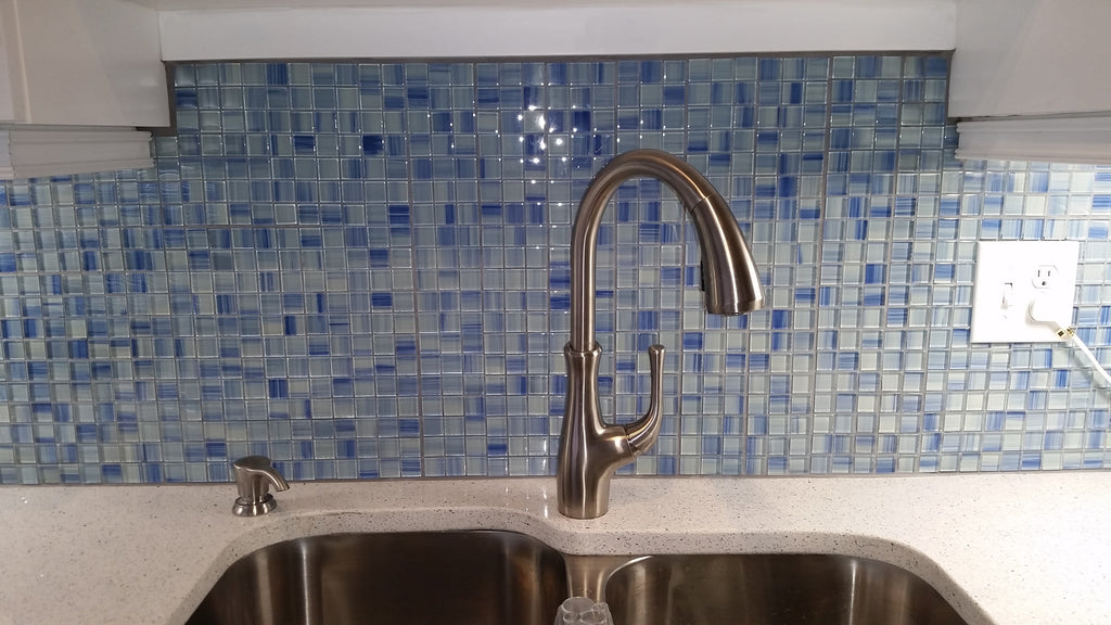 Image of: Blue Skies Hand Painted 1×1 Glass Mosaic Tiles Rocky Point Tile Online Tile Store