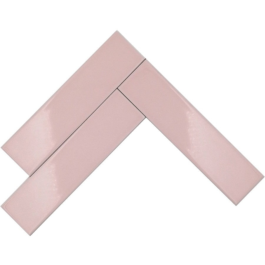 Pink Glossy Ceramic Subway Tiles - Bubblegum
