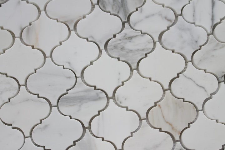 Small Arabesque Calacatta Gold Polished Marble Mosaic