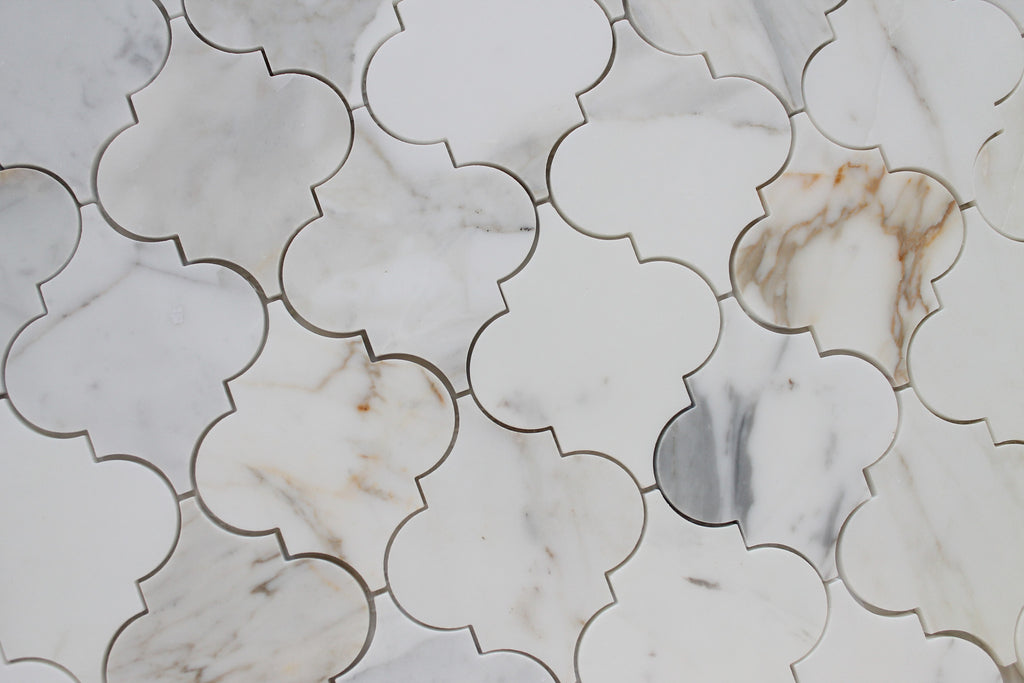 Calacatta Gold Polished Arabesque Marble Mosaic Tiles