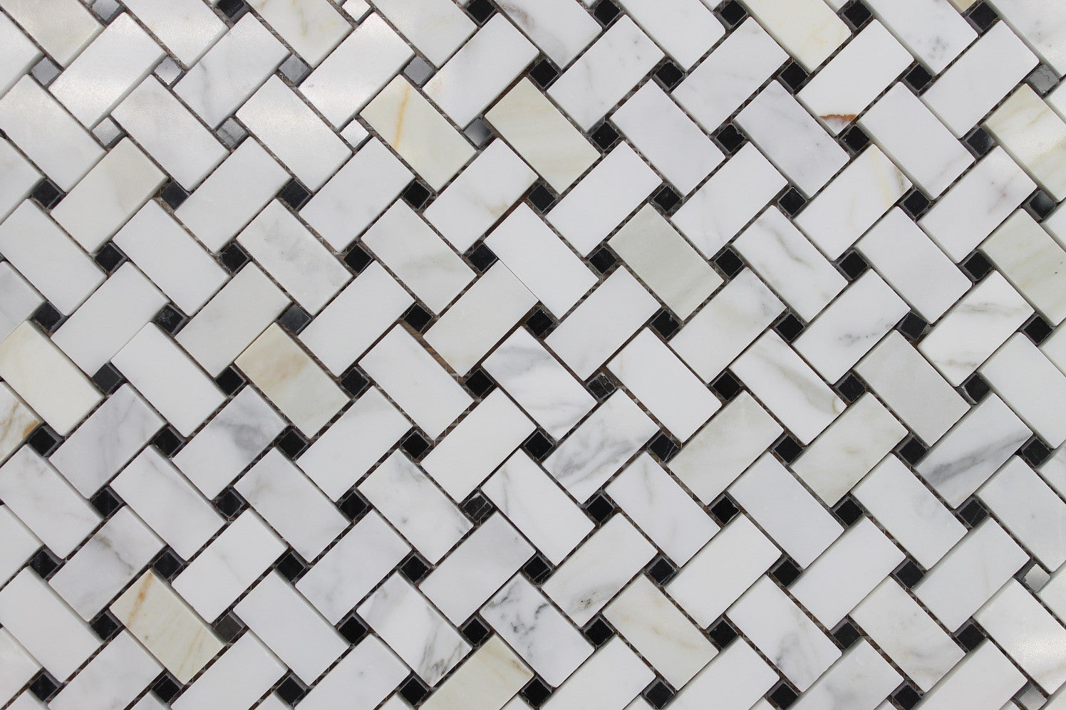 Calacatta Gold Basket Weave With Black Dot Polished Marble