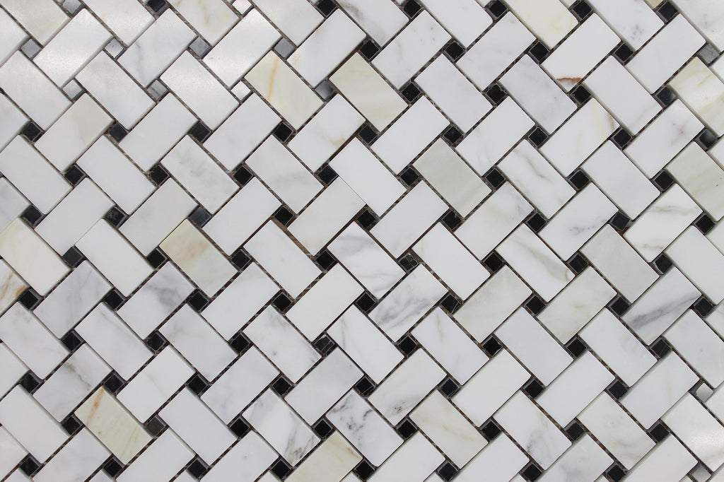 Calacatta Gold Basket Weave with Black Dot Polished Marble Mosaic Tiles - Rocky Point Tile - Glass and Mosaic Tile Store