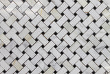 Calacatta Gold Basket Weave with Black Dot Polished Marble Mosaic Tiles