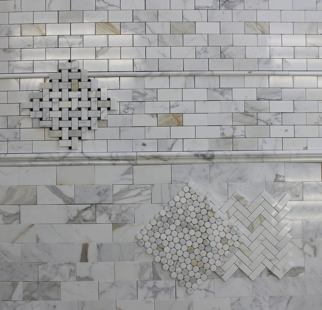 Calacatta Gold Polished Marble Pencil Trim - Rocky Point Tile - Glass and Mosaic Tile Store