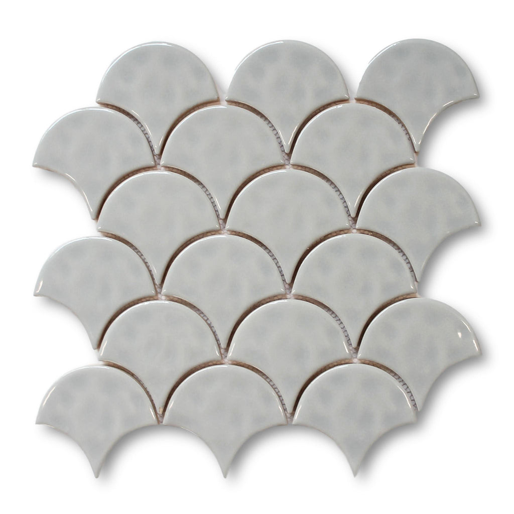 Ceramic Fish Scale Mosaic Tiles - Cloud