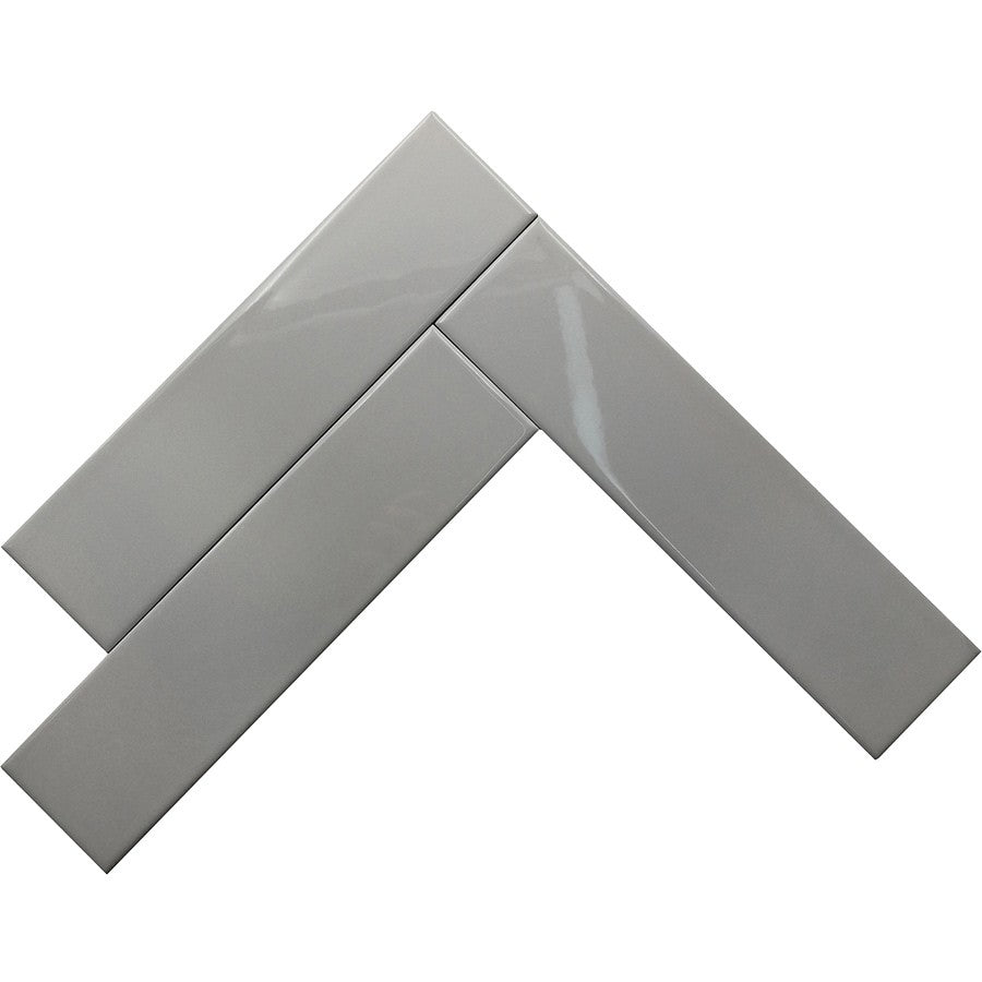 Light Gray Glossy Ceramic Subway Tiles - Cloud