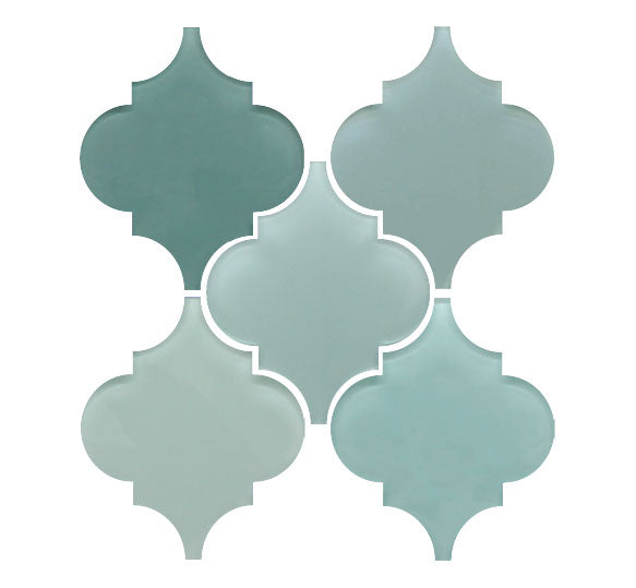Arabesque Glass Mosaic Tile Sample Combo Pack - Blues and Greens - Rocky Point Tile - Glass and Mosaic Tile Store
