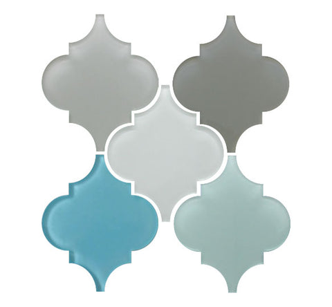 Arabesque Glass Mosaic Tile Sample Combo Pack - Grays and Blues - Rocky Point Tile - Glass and Mosaic Tile Store