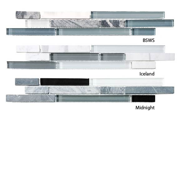 Bliss Glass and Stone Linear Mosaic Tiles Sample Combo Pack - Cool