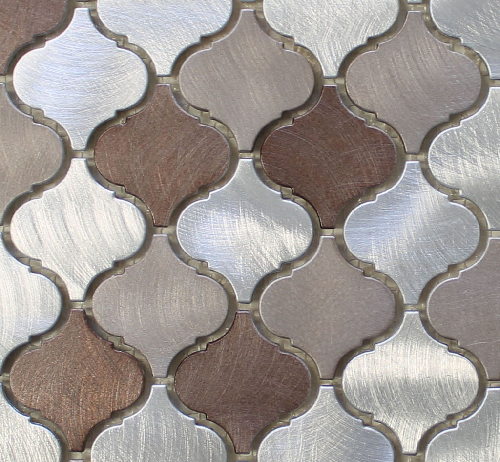 Casablanca Brushed Aluminum Arabesque Mosaic Tiles Rocky