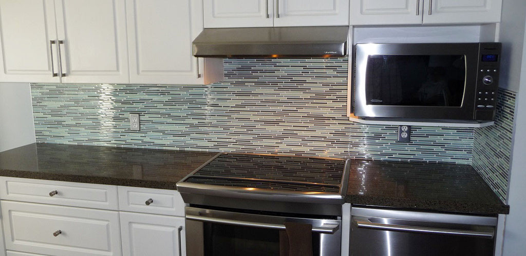 Vegas Gray and Blue Linear Glass Mosaic Tile - Rocky Point Tile - Glass and Mosaic Tile Store