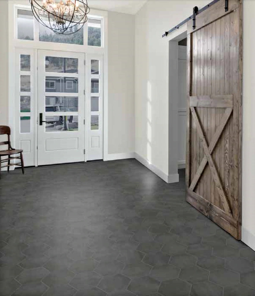 "Form 7"" x 8"" Hexagon Cement Look Glazed Porcelain Tiles - Graphite"