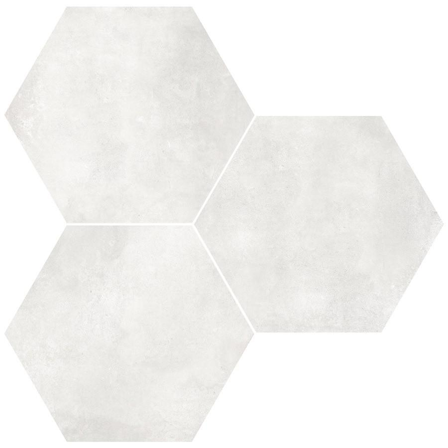 "Form 7"" x 8"" Hexagon Cement Look Glazed Porcelain Tiles - Ivory"