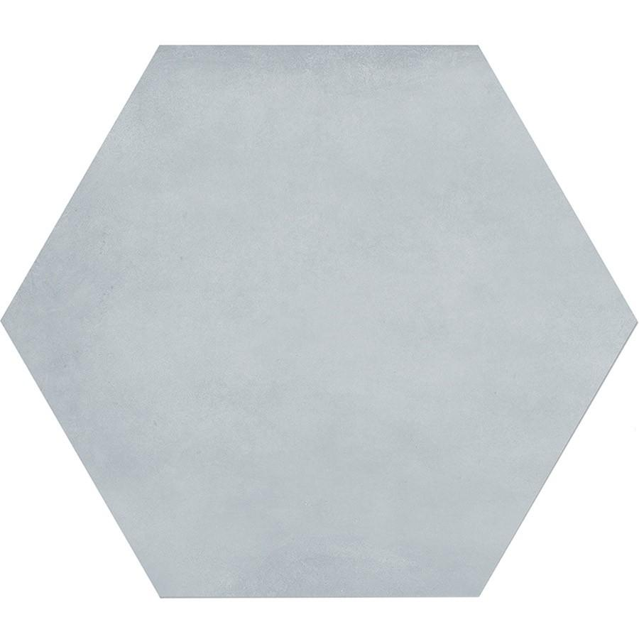 "Form 7"" x 8"" Hexagon Cement Look Glazed Porcelain Tiles - Tide"