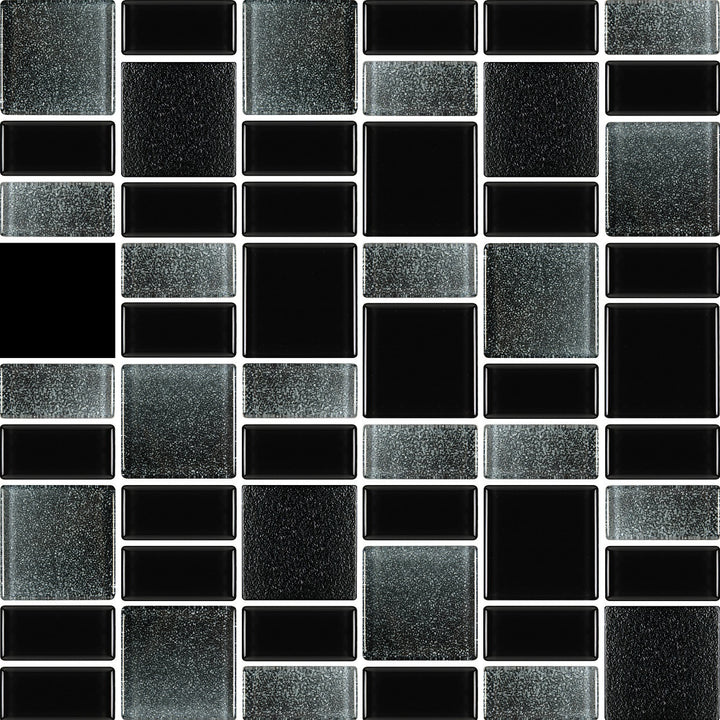 Fusion Black Glass Mosaic Tiles - Rocky Point Tile - Glass and Mosaic Tile Store