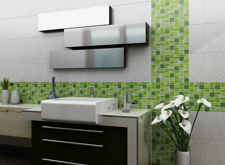 Fusion Green Glass Mosaic Tiles Rocky Point Tile Glass