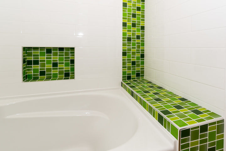 green mosaic bathroom tiles fusion green glass mosaic tiles rocky point tile glass 18579