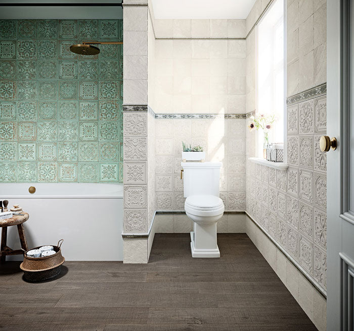 Gatsby Ceramic 8x8 Tin Look Tiles - Green