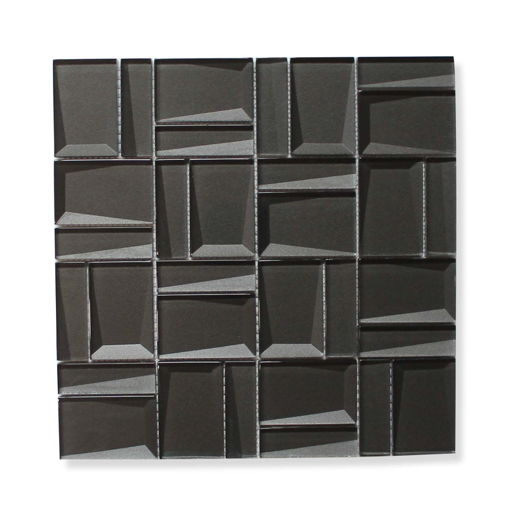 Illusion II 3D 3x3 Beveled Glass Mosaic Tiles - Black Diamond