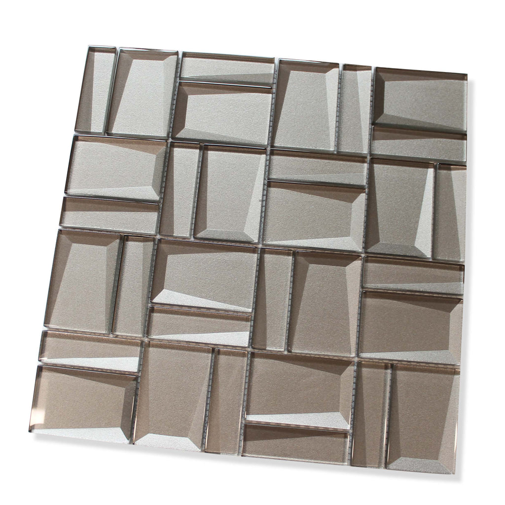 Illusion II 3D 3x3 Beveled Glass Mosaic Tiles - Morion