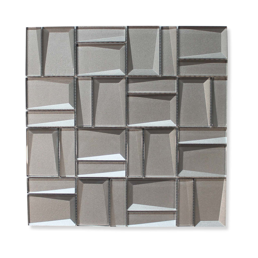 Illusion II 3D 3x3 Beveled Glass Mosaic Tiles - Palladium