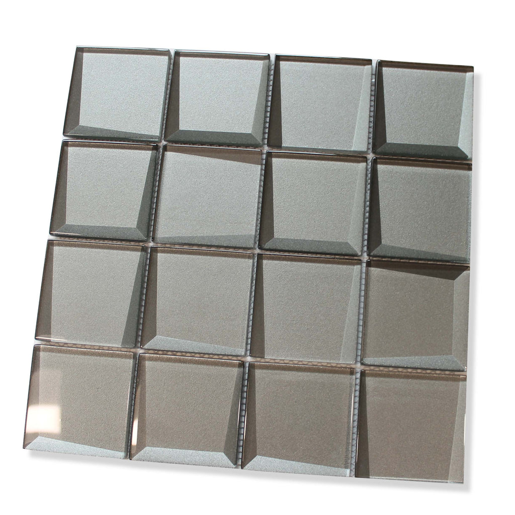 Illusion 3D 3x3 Beveled Glass Mosaic Tiles - Iron Gate