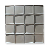 Illusion 3D 3x3 Beveled Glass Mosaic Tiles - Palladium