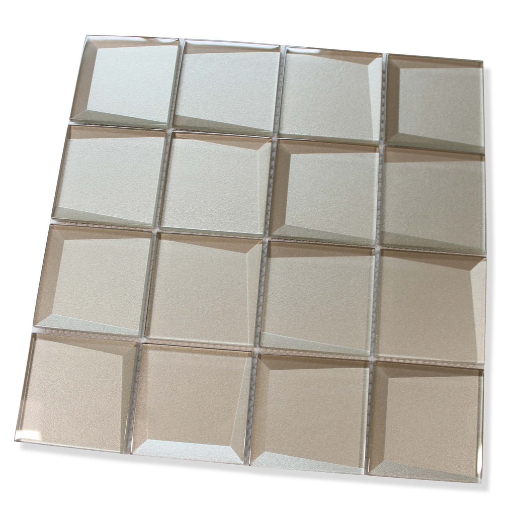 Illusion 3D 3x3 Beveled Glass Mosaic Tiles - Patine