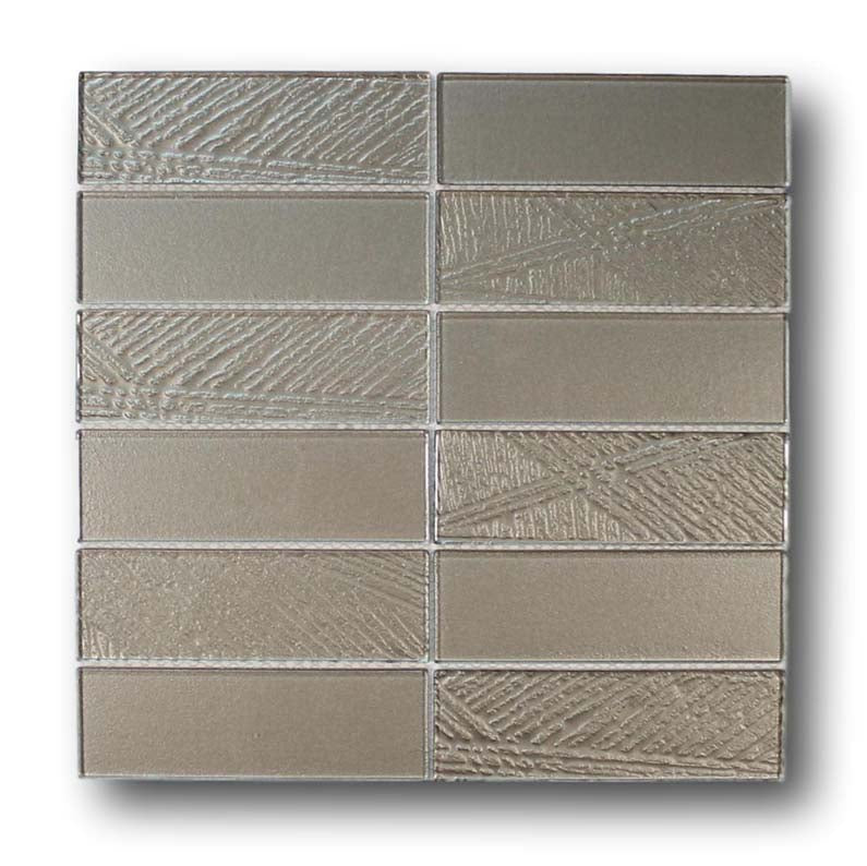 Glacier 2x6 Stack Mounted Glass Mosaic Tile -  Iron Gate